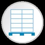 Sharp shipper and pallet design icon