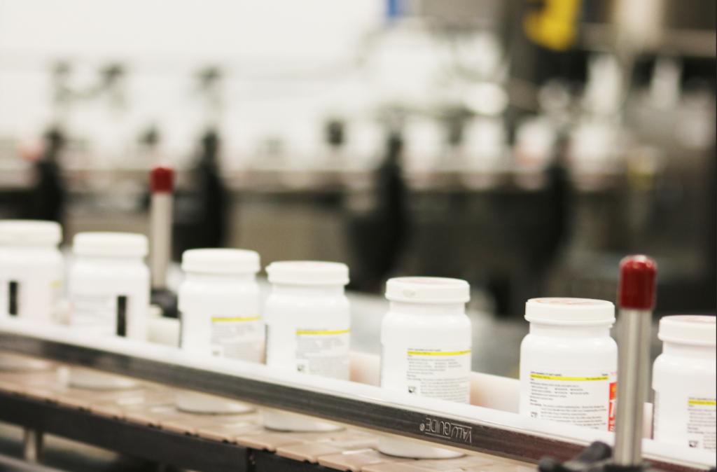 Sharp automated bottling line